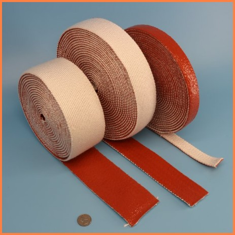 Firesleeve tape silicone rubber 1 side coated knitted tape wire cable hose protection