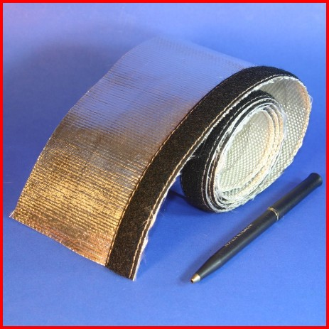 aluminum foil coated fiberglass sleeve with hook loop closure heat reflective wire cable hose protection